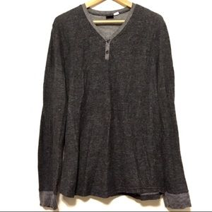 BDG Thermal Henley Long Sleeve Pullover Top Stripe